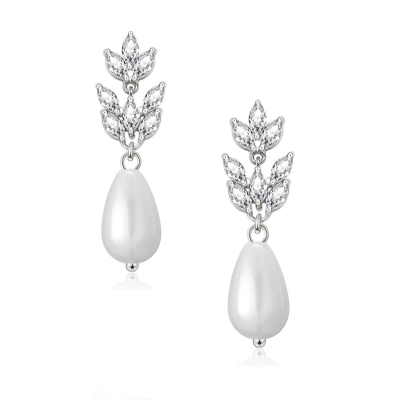 CUBIC ZIRCONIA COLLECTION - CHIC PEARL EARRINGS - WHITE CZER509