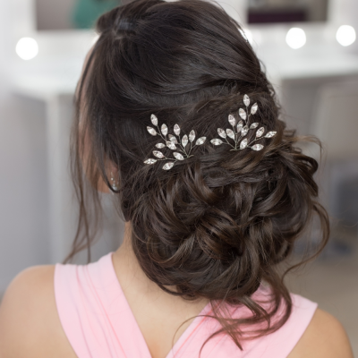 ATHENA COLLECTION - GLITZY GLAM HAIR PINS - SILVER(HP40)