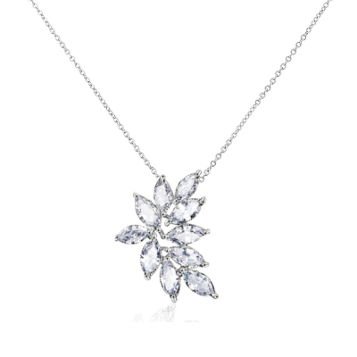 CUBIC ZIRCONIA COLLECTION - CRYSTAL CLUSTER NECKLACE- SILVER -CZNK113