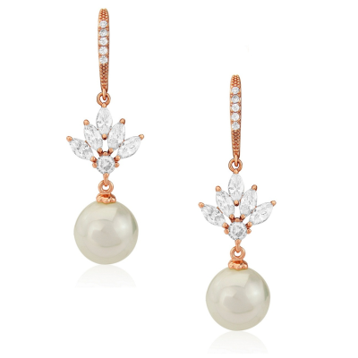 CUBIC ZIRCONIA COLLECTION- CRYSTAL ELEGANCE EARRINGS - CZER407 ROSE GOLD