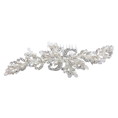 ATHENA COLLECTION - PRECIOUS PEARL HAIR COMB - HC195 - SILVER