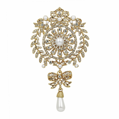 EXQUISITELY VINTAGE BRIDAL BROOCH - (BROOCH 153) GOLD