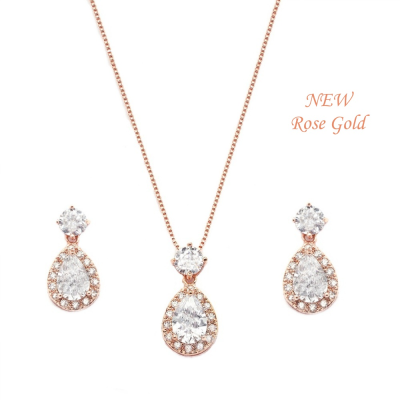 Cubic Zirconia Collection - Dazzling Crystal Drop Necklace Set RG- (CZNK56) ROSE GOLD