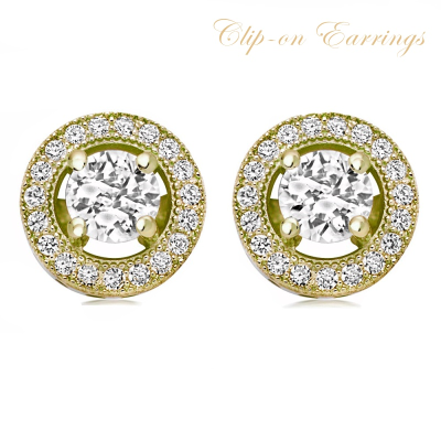 CUBIC ZIRCONIA COLLECTION - EXQUISITE CRYSTAL STUD EARRINGS - CZER435 (GOLD)