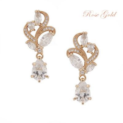 CUBIC ZIRCONIA COLLECTION - BEJEWELLED EARRINGS - ER312 (ROSE GOLD)
