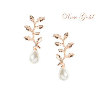 ATHENA COLLECTION - DELICATE VINE EARRINGS - CZER454 ROSE GOLD