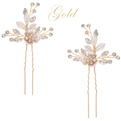 ATHENA COLLECTION - FLORAL ROMANCE HAIR PINS- PIN52 GOLD (PAIR)