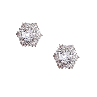 CUBIC ZIRCONIA COLLECTION - ETERNALLY CLASSIC CRYSTAL STUDS - CZER536 SILVER