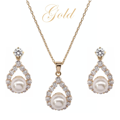 CUBIC ZIRCONIA COLLECTION - PEARL ELEGANCE NECKLACE SET - (CZNK102) GOLD
