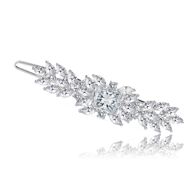 CZ COLLECTION - VINTAGE INSPIRED CRYSTAL CLIP - SILVER (CLIP 734)