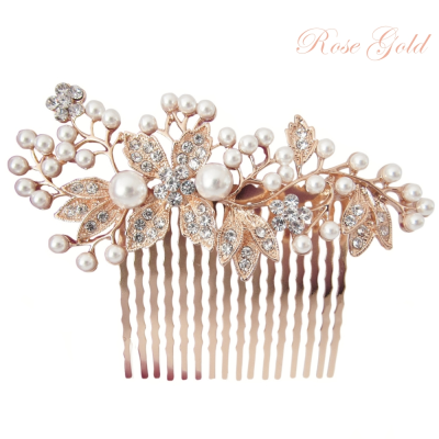 ATHENA COLLECTION - VINTAGE PEARL COMB - HC176 ROSE GOLD