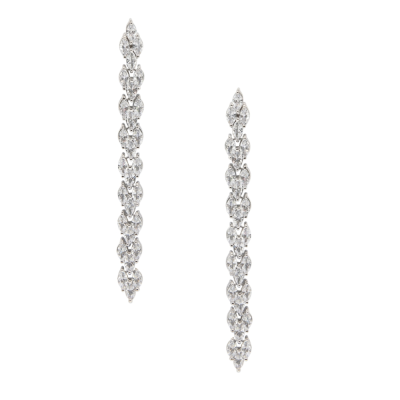CUBIC ZIRCONIA COLLECTION - GRACEFUL CRYSTAL DROP EARRINGS - CZER533