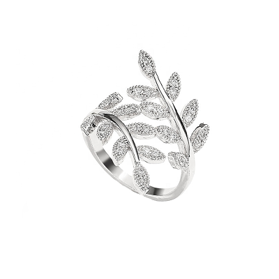 CUBIC ZIRCONIA COLLECTION - CRYSTAL VINE RING - ADJUSTABLE - SILVER