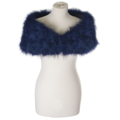 VINTAGE INSPIRED MARABOU FEATHER STOLE - NAVY BLUE (SG1)