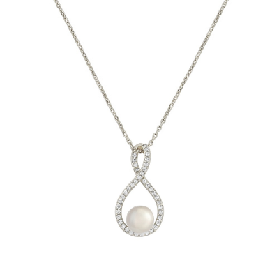 CUBIC ZIRCONIA COLLECTION - EXQUISITE INFINITY NECKLACE (NK2) (SILVER)