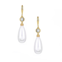 CUBIC ZIRCONIA COLLECTION - PEARL ELEGANCE EARRINGS - GOLD CZER600