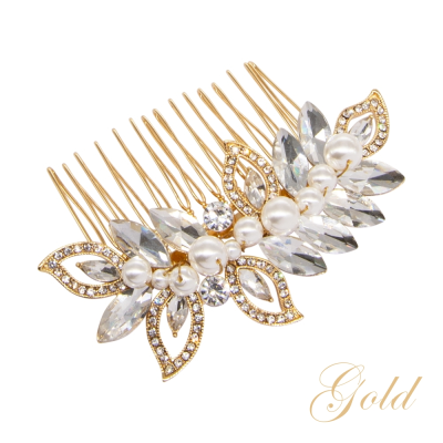 ATHENA COLLECTION - PEARL SHIMMER HAIR COMB - (HC192) GOLD
