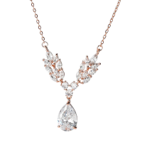 CUBIC ZIRCONIA COLLECTION - VINTAGE VINE NECKLACE - CZNK125 ROSE GOLD