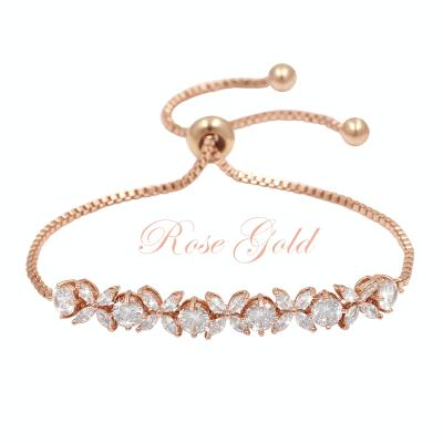 CUBIC ZIRCONIA COLLECTION - GRACE CRYSTAL BRACELET - BR48 ROSE GOLD