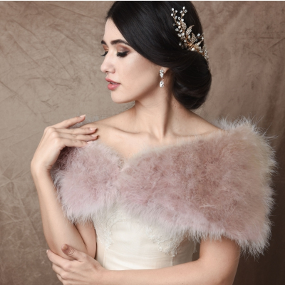 VINTAGE INSPIRED MARABOU FEATHER STOLE - BLUSH PINK (SG1)