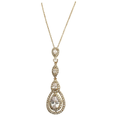 CUBIC ZIRCONIA COLLECTION - STARLET SPARKLE NECKLACE - CZNK75  (GOLD)