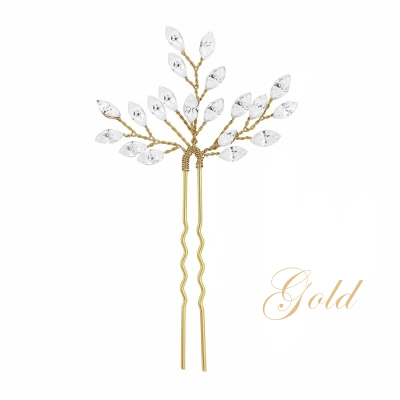 ATHENA COLLECTION - CRYSTAL CHIC HAIR PIN - PIN27 Gold