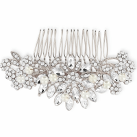 ATHENA COLLECTION - CLASSIC PEARL HAIR COMB - HC162 ROSE SILVER