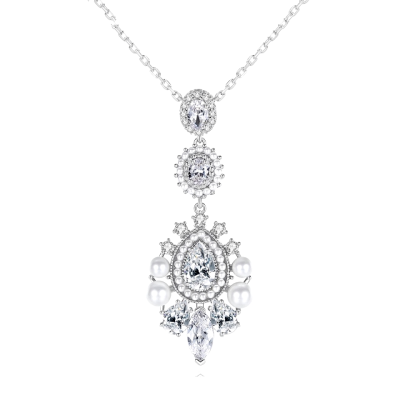 CUBIC ZIRCONIA COLLECTION - PEARL EXTRAVAGANCE NECKLACE - NK135 SILVER