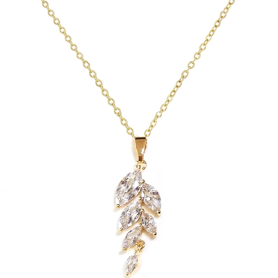 CUBIC ZIRCONIA COLLECTION - BELLA DAINTY DROP NECKLACE - CZER108 GOLD