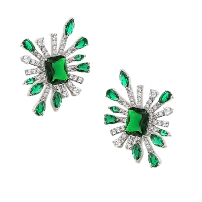 CUBIC ZIRCONIA COLLECTION - CRYSTAL ALLURE EARRINGS - CZER523 EMERALD