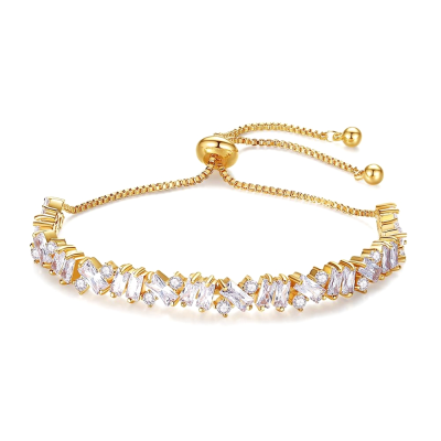 CUBIC ZIRCONIA COLLECTION - BEJEWELLED BRACELET - GOLD - BR106