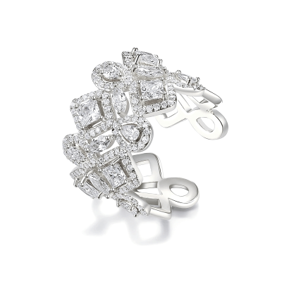 CUBIC ZIRCONIA COLLECTION - CRYSTALLURE COCKTAIL RING - SILVER R13