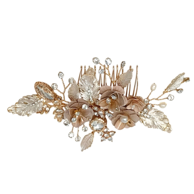 ATHENA COLLECTION - GLITZY PINK BLUSH HAIR COMB - HC194 GOLD