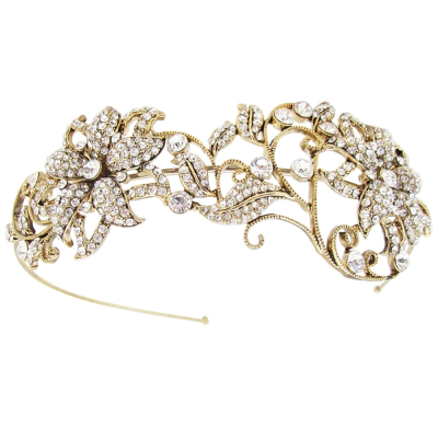 ATHENA COLLECTION - VINTAGE LUXE HEADBAND - AHB109 ANTIQUE GOLD