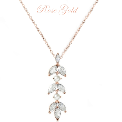 CUBIC ZIRCONIA COLLECTION - DAINTY PEARLNECKLACE - CZNK81 ROSE GOLD