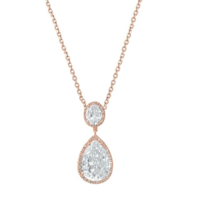 Cubic Zirconia Collection - Sheer Elegance Necklace  - Rose Gold - CZNK53