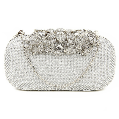 VINTAGE VINE - CRYSTAL CLUTCH BAG - SILVER