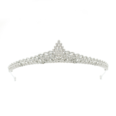CUBIC ZIRCONIA COLLECTION - CRYSTAL SHIMMER TIARA - AHB71 SILVER