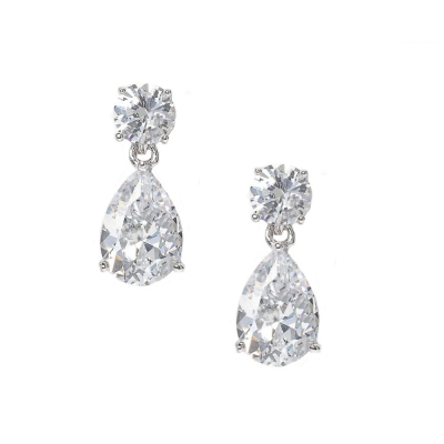 CUBIC ZIRCONIA COLLECTION - DAINTY CRYSTAL GEM EARRINGS - CZER412