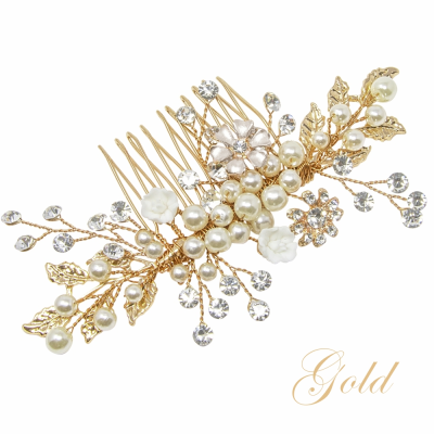 ATHENA COLLECTION - ETERNALLY PEARL HAIR COMB - HC160 GOLD