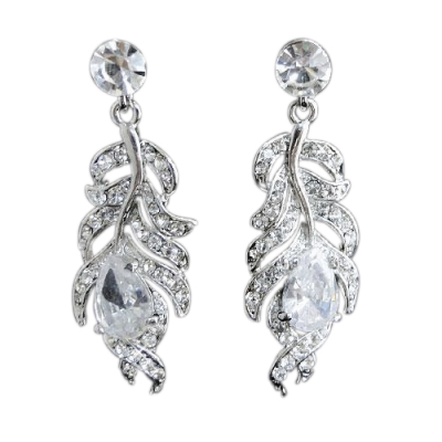 Crystal Feather Earrings - Clear (ER65)