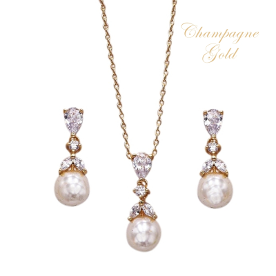 CUBIC ZIRCONIA COLLECTION - GRACEFUL PEARL NECKLACE SET- CHAMPAGNE GOLD (NK127)