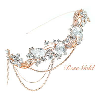 ELITE COLLECTION - Bejewelled Gatsy Style Headband - ROSE GOLD HDB311