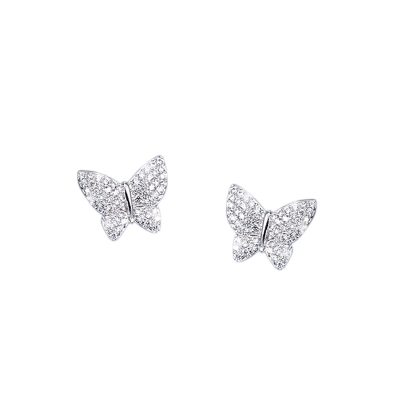 CUBIC ZIRCONIA COLLECTION - CRYSTAL BUTTERFLY EARRINGS - (CZER473) SILVER