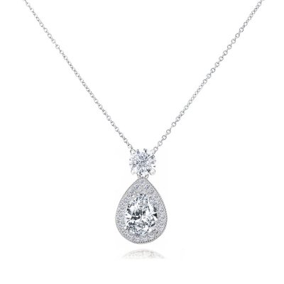CUBIC ZIRCONIA COLLECTION - DAZZLING CRYSTAL DROP NECKLACE - CZNK65