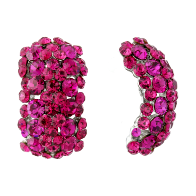 ATHENA COLLECTION CRYSTAL CLUSTER EARRINGS - FUCHSIA