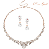 ATHENA COLLECTION - CRYSTAL ENCHANTMENT NECKLACE SET - ROSE GOLD (NK166)