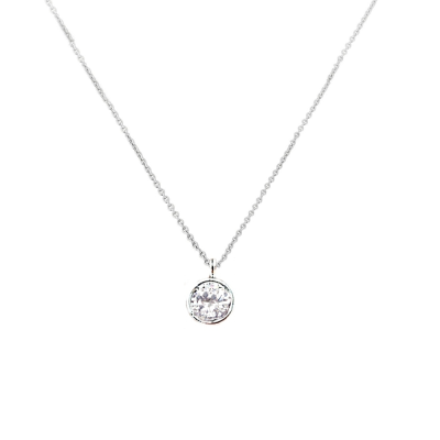 CUBIC ZIRCONIA COLLECTION - CZ SOLITAIRE NECKLACE - CZNK92 SILVER