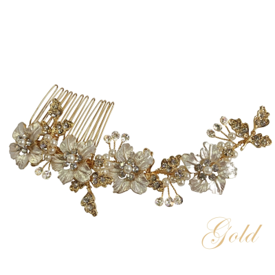 ATHENA COLLECTION - FLORAL ROMANCE HAIR COMB - HC169  GOLD
