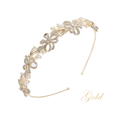ATHENA COLLECTION - CHIC CRYSTAL TREASURE HEADBAND  AHB-7 GOLD